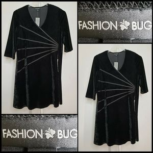 Fashion Bug Women Long Sleeve Suede Dress Size 1X